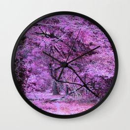 Fantasy Tree Landscape: Orchid Pink Purple Wall Clock