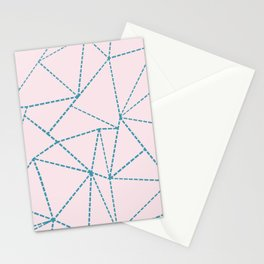 Ab Dotted Lines Blue on Pink Stationery Cards