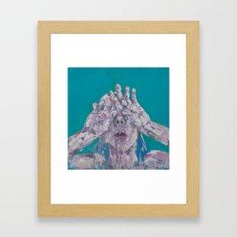 Portrait of a Woman on Blue Framed Art Print