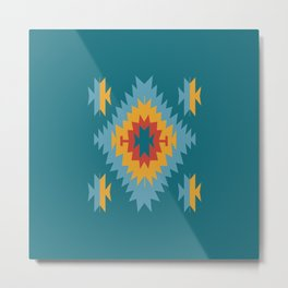 Santa Fe Southwestern Native Navajo Indian Tribal Geometric Pattern Metal Print