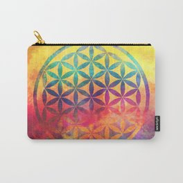 Rainbow Flower Of Life Carry-All Pouch