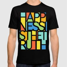 Happiness Black Mens Fitted Tee LARGE
