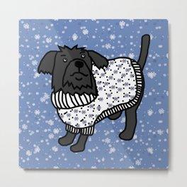 Cute dog in a winter sweater Metal Print
