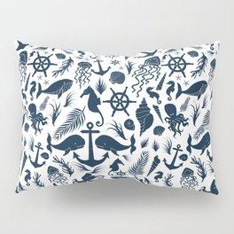 Nautical Silhouettes (Navy Blue on White) Pillow Sham