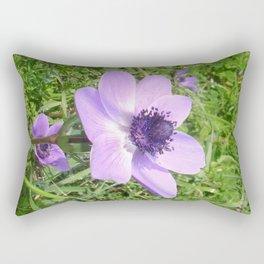 One Delicate Pale Lilac Anemone Coronaria Wild Flower Rectangular Pillow