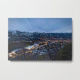 BRECKENRIDGE COLORADO PHOTO - WINTER NIGHT IMAGE - SKI TOWN PICTURE - CITY PHOTOGRAPHY Metal Print