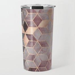 Pink And Grey Gradient Cubes Travel Mug