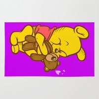 pooh Area & Throw Rugs featuring Pooh And Teddy by Artistic Dyslexia