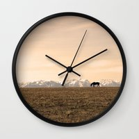 montana Wall Clocks featuring Montana Landscapes by Owl's Iris Photography