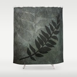 PPG Night Watch Abstract Grunge with Fern Leaf - Foliage Silhouettes Shower Curtain