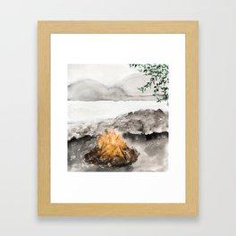 Camp by the Lake Framed Art Print