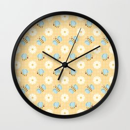 Cute Bees & Daises Pattern with Gingham Background Wall Clock