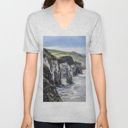 Travel to Ireland: A Castle View Unisex V-Neck