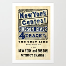 New York Central Vintage Typography Poster Art Print