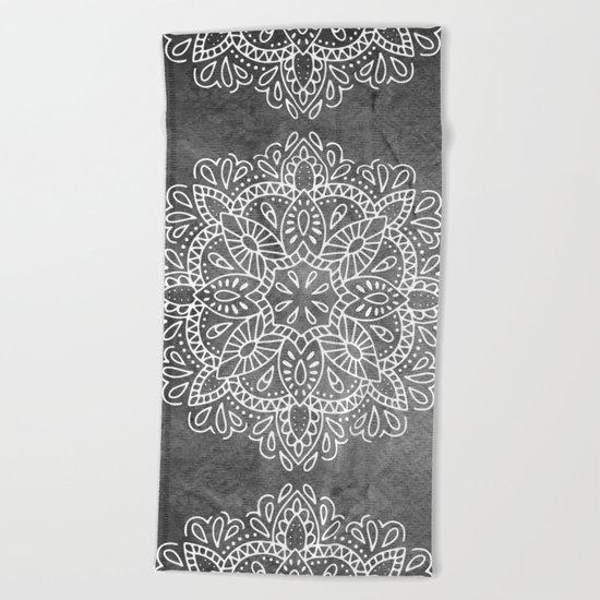 Mandala Vintage White on Ocean Fog Gray Beach Towel