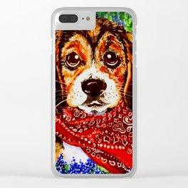 Buddy Playful Dog Beagle Puppy Western Wild Flowers Bandana Spring Field Bright Colorful Art Clear iPhone Case