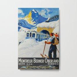 Montreaux-Berner Oberland Bahn 1934 Vintage Travel Poster Metal Print