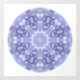 Light Blue, Lavender & White Floral Mandala Art Print