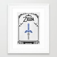 legend of zelda Framed Art Prints featuring Zelda legend - Sword by Art & Be