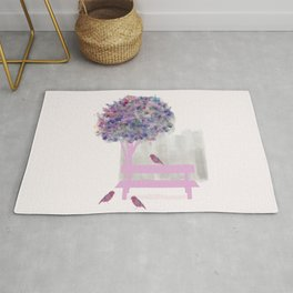 Park bench tree and birds Rug