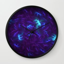 Abstract Fractal Design 5 - Soft Purple and Blue Lights Wall Clock