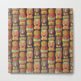 Tiki mask pattern Metal Print