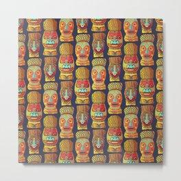 Tiki mask pattern Metal Print