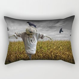 Scarecrow with Black Crows over a Cornfield Rectangular Pillow