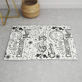 Black and White Christmas Typography Design Rug