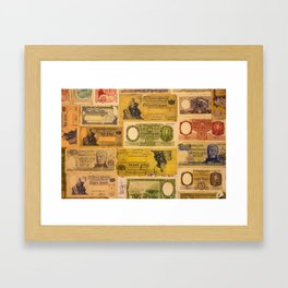 Numerous old banknotes of the Argentine Republic already out of circulation. Framed Art Print