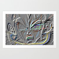 vegeta Art Prints featuring vegeta shout by codradical
