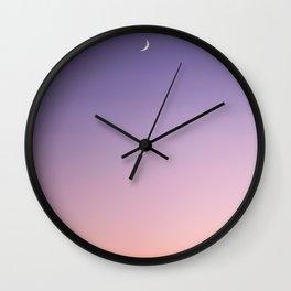 Moon at sunset, Naxos, Greece Wall Clock