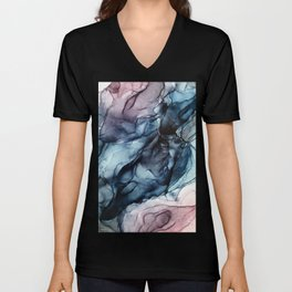 Blush and Darkness Abstract Paintings Unisex V-Neck