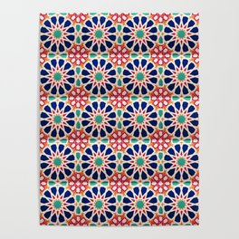 -A21- Traditional Colored Moroccan Mandala Artwork. Poster