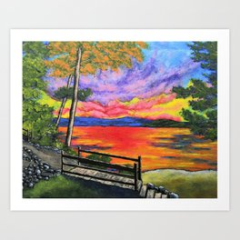 Canandaigua Trail by Mike Kraus - art painting finger lakes upstate ny new york sunset sunrise paths Art Print