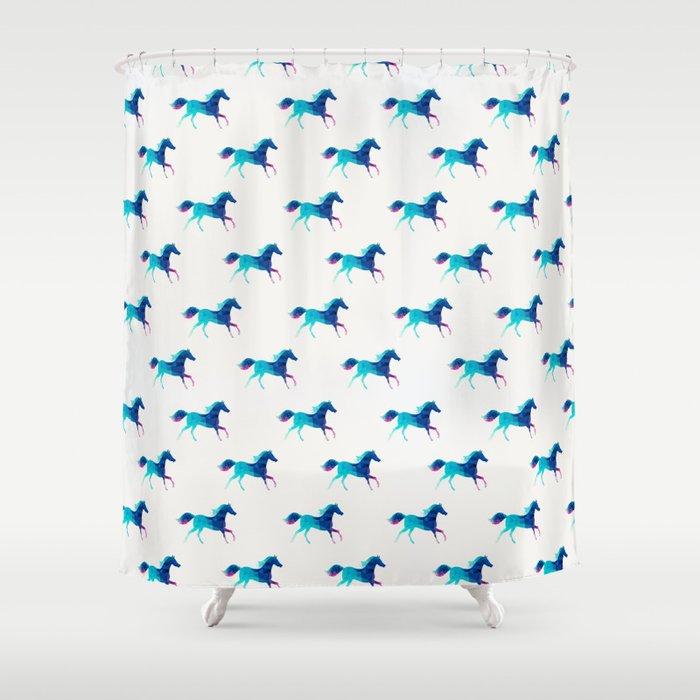blue horse pattern Shower Curtain