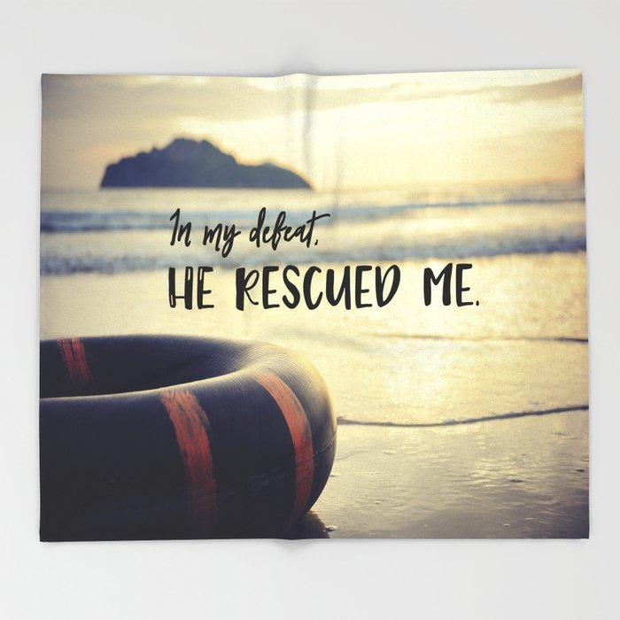 God Rescued Me Throw Blanket