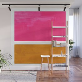 Magenta Yellow Ochre Rothko Minimalist Mid Century Abstract Color Field Squares Wall Mural