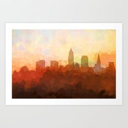 Cleveland, Ohio Skyline - In the Clouds Art Print