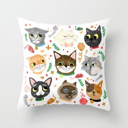 Neighborhood Cats Throw Pillow