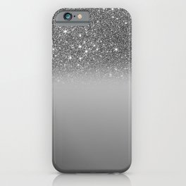 Bullet Gray & Silver Glitter Gradient iPhone Case