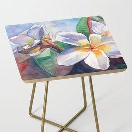Tropical Plumeria Flowers Side Table