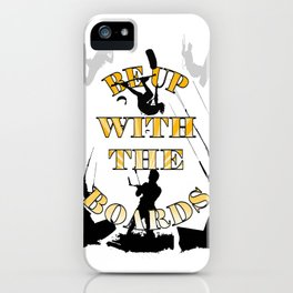 Be Up With The Boards Yellow Text And Kitesurfer Vector iPhone Case