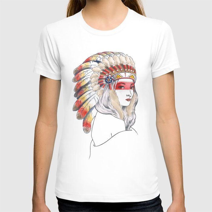Girl with Native American War Bonnet T-shirt
