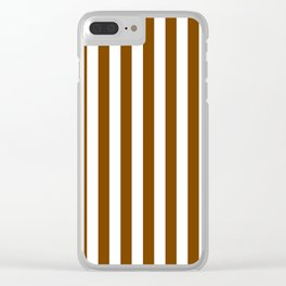 Narrow Vertical Stripes - White and Chocolate Brown Clear iPhone Case