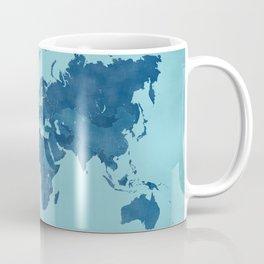 Vintage and distressed teal world map Coffee Mug