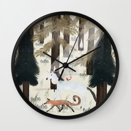 the fox and unicorn Wall Clock