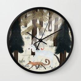 the fox and unicorn Wall Clock