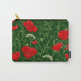 Red poppies on green field Carry-All Pouch