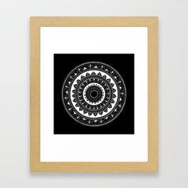 Ukatasana white mandala on black Framed Art Print